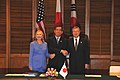 Secretary Clinton, Japanese Foreign Minister Matsumoto, and South Korean Foreign Minister Kim Sung-Hwan Pose for a Photo (5997354832).jpg