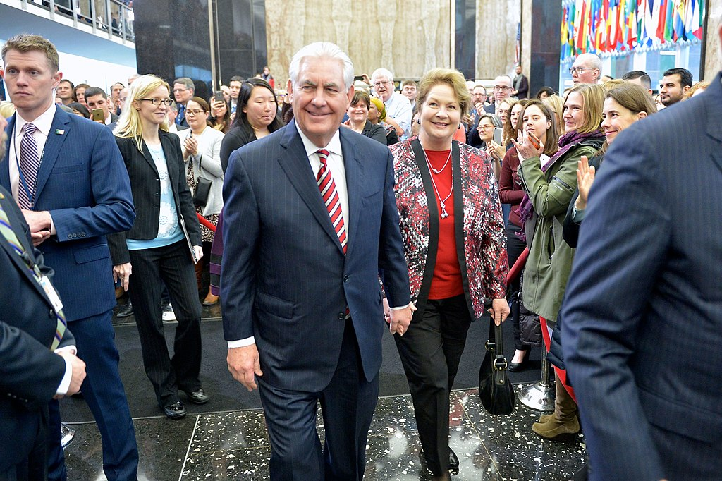 Secretary Tillerson and Mrs. St. Clair Walk Through the State Department's Main Lobby on his First Day (32516939282)