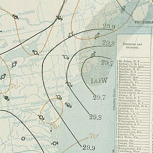 1896 Atlantic hurricane season - Image: September 10, 1896 hurricane 2 weather map