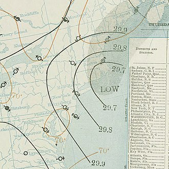 1896 Atlantic hurricane season - Image: September 10, 1896 hurricane 2 weather map