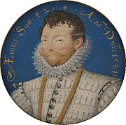 Miniature of Drake, age 42 by Nicholas Hilliard in 1581