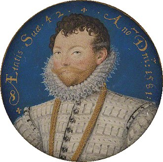 "Francis Drake - Portrait miniature by Nicholas Hilliard, 1581, reverse of ""Drake Jewel"", inscribed Aetatis suae 42, An(n)o D(omi)ni 1581 (""42 years of his age, 1581 AD"")"