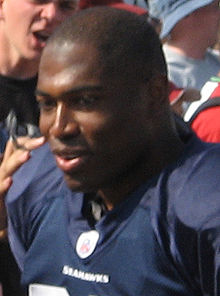 An American football player wearing a blue jersey.
