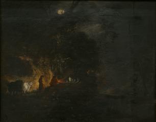 Shepherds at a Log Fire
