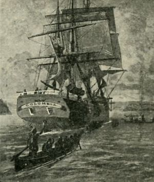 Robert Gray (sea captain) - Sketch of the  Columbia Rediviva  on the river bearing her name