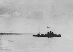 Battle of Cape Passero (1940) - Artigliere, with HMS Orion and HMAS Sydney on the background after the engagement