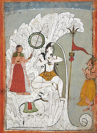 Haridwar - Gangadhara, Shiva bearing the Descent of the Ganges River as Parvati and Bhagiratha, and the bull Nandi look on. circa 1740