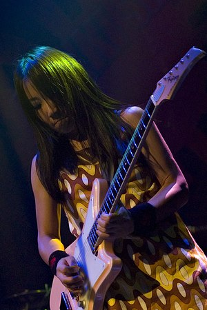 Shonen Knife - Naoko Yamano, the sole original member of the group, performing in November 2007 at the Blender Theater in New York City.