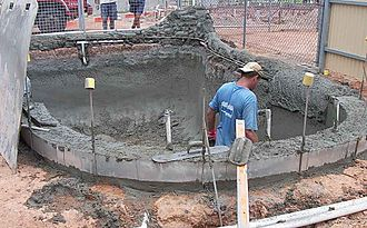 Shotcrete - Shotcrete swimming pool under construction in Northern Australia