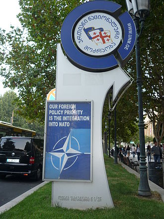 United National Movement (Georgia) - A pro-NATO sign edited by UNM, the then-ruling party of Georgia.