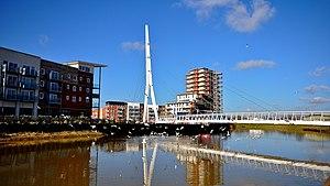Sir Bobby Robson Bridge - Sir Bobby Robson footbridge with the residential development on the left.