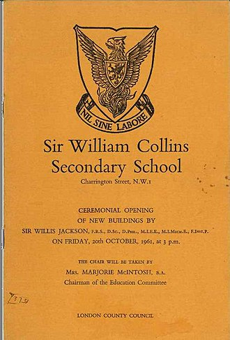 Regent High School - Opening of the new extension by Sir Willis Jackson 20 October 1961, including school logo and motto