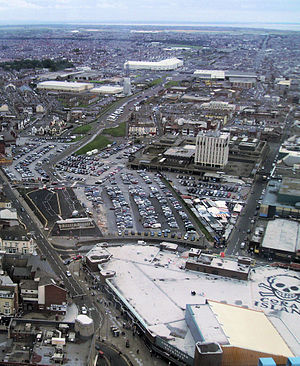 Blackpool Central railway station - The site of the former station in 2009. The station building and platforms occupied almost all of the area in the bottom half of the picture, and the route of the dismantled tracks can be seen heading towards the top right of the picture.