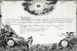 Society of the Cincinnati - Society of the Cincinnati membership certificate
