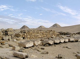 Abu Gorab - Ruins of the sun temple of Niuserre in Abu Gorab. In the background, the pyramids of Abusir.