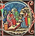 Solomon and Géza I receive gifts from the locals at Nissa (Chronicon Pictum 078).jpg