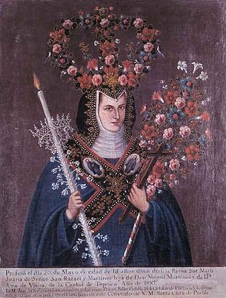 Indochristian art - An example of a crowned nun, combining traditional Mesoamerican flower art with Christian iconography