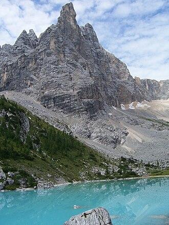 Sorapiss - Dito di Dio (Finger of God), with Lago di Sorapiss at its foot