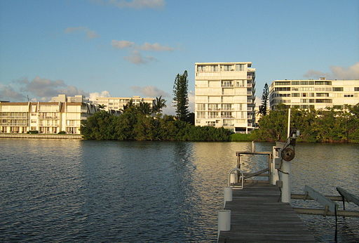 South Palm Beach condominiums from lagoon
