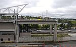 South end of SeaTac Airport Link station before construction to extend viaduct to south (2010).jpg