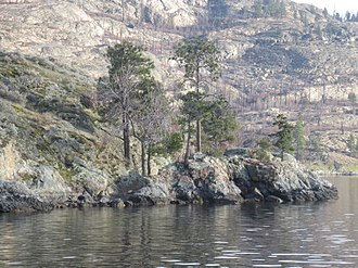 2003 Okanagan Mountain Park Fire - Fire damage visible in background of Rattlesnake Island