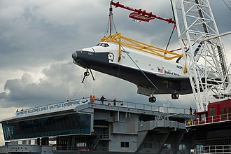 Space Shuttle Enterprise - Enterprise being lifted onto Intrepid