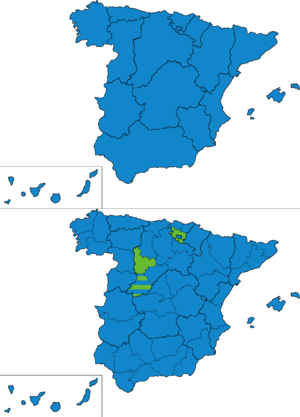 Spanish general election, 1876 - Most voted party by regions and provinces.