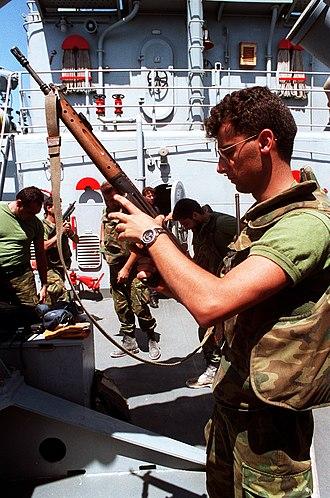 CETME rifle - Spanish sailor with CETME 58 Model C.