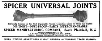 Clarence W. Spicer - Spicer Manufacturing Company advertisement for universal joints in the Automobile Trade Journal, 1916.