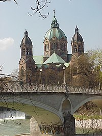 Munich: St. Lukas and River Isar.