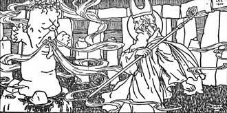 Crom Cruach - St. Patrick and Crom Cruaich. Illustrated by L.D.Symington.