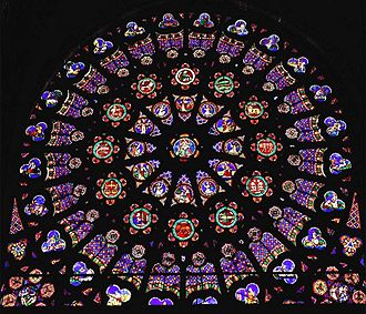 Basilica of Saint-Denis - The south transept rose shows the Creation.