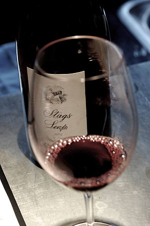 A glass of Stag's Leap Petite Sirah from Napa ...