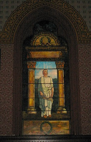 Battell Chapel - A window depicting Seneca, by Maitland Armstrong, commemorating Thomas Anthony Thacher