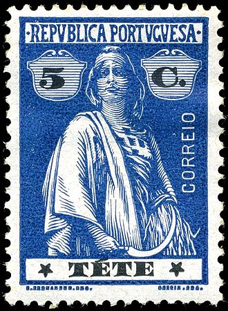 Postage stamps and postal history of Mozambique - 5c Ceres stamp of Tete, issued in 1914 when Mozambique was a Portuguese colony