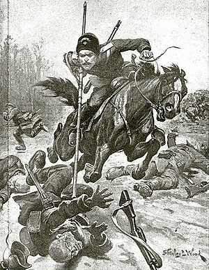 Don Cossacks - 1915 drawing from The War Illustrated showing a charging Don Cossack. The figure is portrayed in peacetime dress uniform