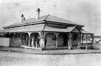 Queensland National Bank, Gympie - Bank personnel outside the Queensland National Bank, circa 1890