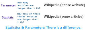 Statistic - A diagram that deals with the difference between statistic and parameter.