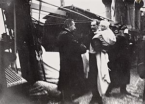 HDMY Dannebrog (1879) - Norwegian Prime Minister Christian Michelsen welcomes the new King of Norway Haakon VII and Prince Olav on 25 November 1905