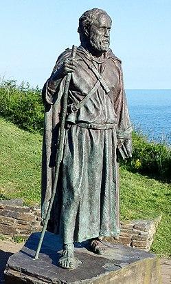 Statue of St Carannog, Llangrannog, Wales.jpg