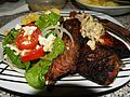 Steak Ribs and Salad.JPG