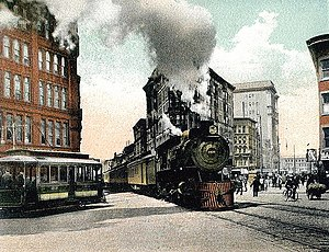 Railroads in Syracuse, New York - Twentieth Century Limited on E. Washington St. in Syracuse, New York, in 1907