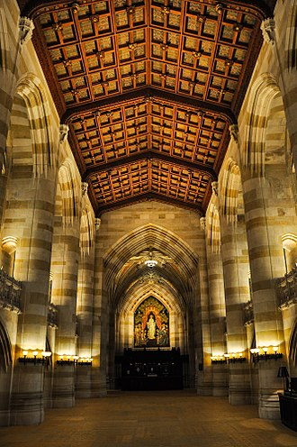 Sterling Memorial Library - The nave, looking towards the circulation desk