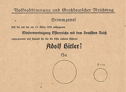 "A ballot from the 1938 elections in Nazi Germany asking voters to approve the new Reichstag and the Anschluss. The ""no"" box was made significantly smaller than the ""yes"" box."