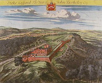 Stoke Gifford - Stoke Park, Stoke Gifford, Glos., hypothetical view from the south-east, as painted by Johannes Kip in 1707. It then belonged to John Berkeley esquire, as stated by the caption above which displays the arms of Berkeley of Stoke Gifford. Published in Britannia Illustrata 1724 edition
