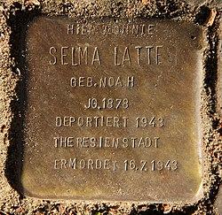Photo of Selma Latte brass plaque