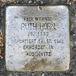 Photo of Ruth Horn brass plaque