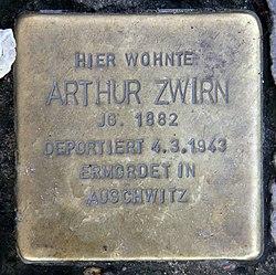 Photo of Arthur Zwirn brass plaque