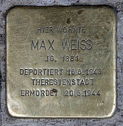 Photo of Max Weiss brass plaque
