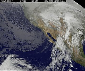 Early December 2007 North American winter storm - Extratropical cyclone pumping subtropical moisture into the Southwestern United States December 1, 2007